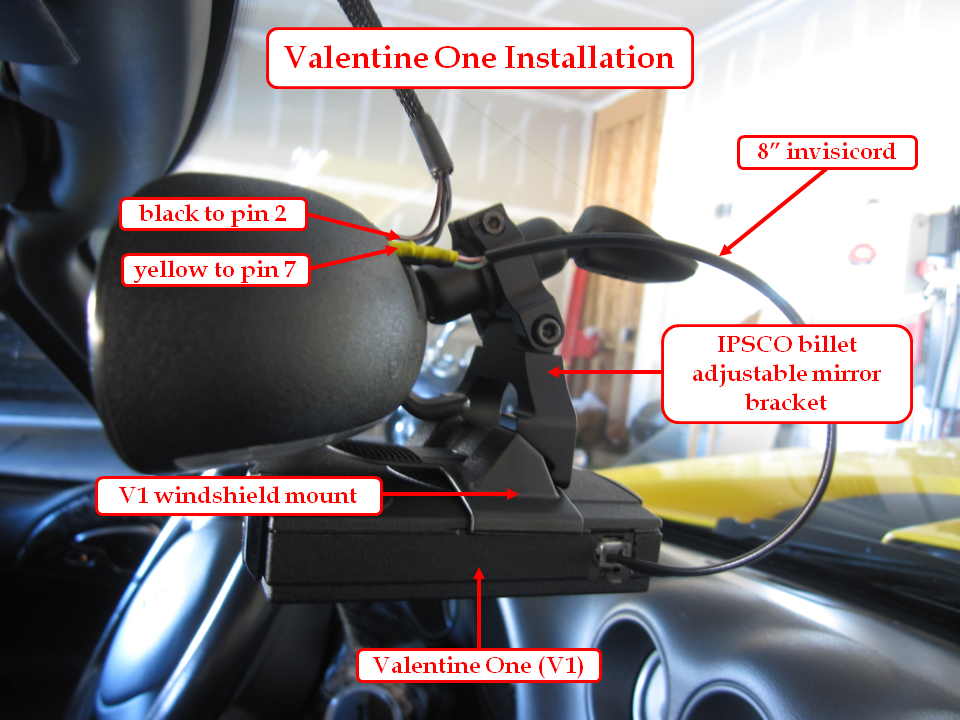 ipsco valentine one rear view mirror adapter - Valentine One Mount